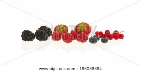 assortment soft fruit isolated over white background