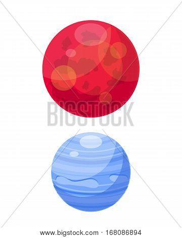 Mars and venera solar system space planets flat vector illustration. Universe astronomy galaxy science star symbol. Globe world fantasy saturn astrology scientific icon.