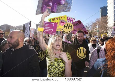 Los Angeles - JAN 21: Miley Cyrus protesting at the Women's March on January 21, 2017 in downtown Los Angeles, California