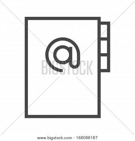 Address Book Thin Line Vector Icon Isolated on the White Background.