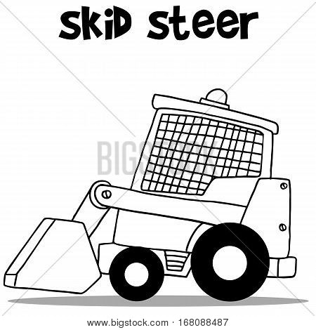 Skid steer for industry cartoon design with hand draw