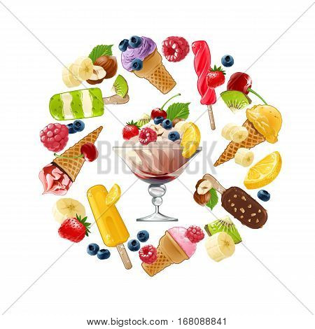 Set of icons of ice cream with different fruits, berries and nuts arranged in a circular frame