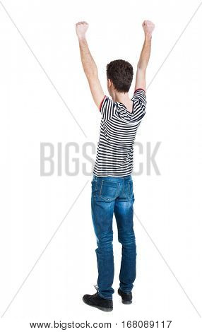 Back view of  man.  Raised his fist up in victory sign.   Rear view people collection.  backside view of person.  Isolated over white background.  guy in the striped violently happy raising fists up