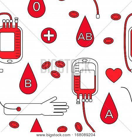 Blood Donation Seamless Pattern