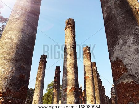 Ancient columns or pillars at Sukhothai, Thailand.