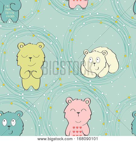 Vector cute seamless pattern with cartoon bear