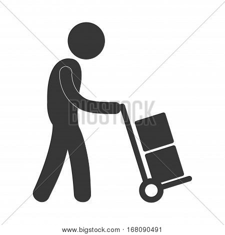 man with hand car delivery boxes worker figure pictogram vector illustration eps 10