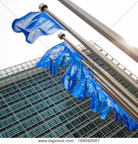 EU flag waving in front of European Parliament