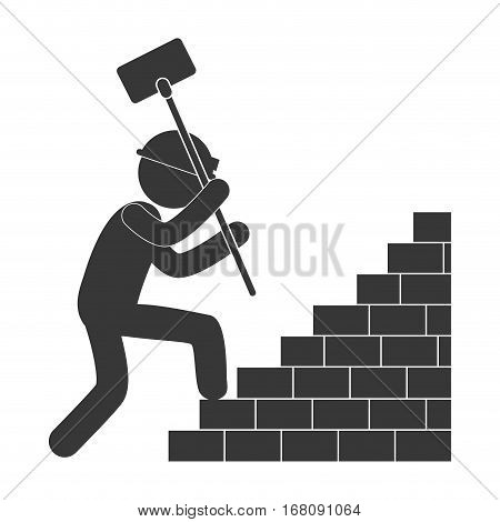 worker hammer climbing brick stairs figure pictogram vector illustration eps 10
