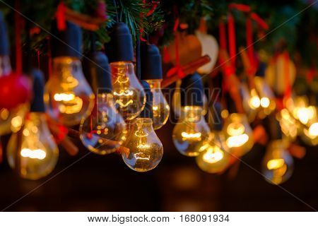 Vintage incandescent lamps as decorative element of interior