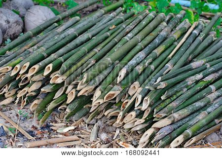 Productivity Bamboo Canes Cut Into Pieces To Hone Sharp End .