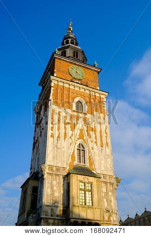 Krakow, Poland - December 20, 2016: Town hall in the center of the old town at day time