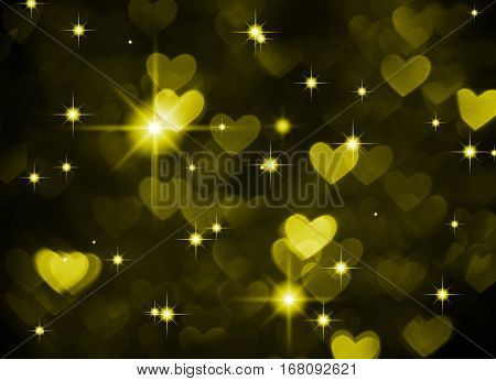 Heart background boke photo, dark green brown color. Abstract holiday, celebration and valentine backdrop.