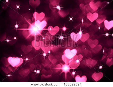 Heart background boke photo, dark magenta color. Abstract holiday, celebration and valentine backdrop.