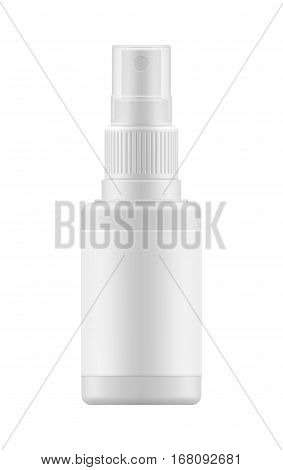 Vector 3d realistic bottle with sprayer. Mock-up white plastic packaging for medical spray. Blank template of container for liquid. Packaging of aerosol isolated on background.