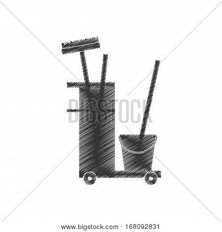 cleaning equipment broom bucket hand car vector illustration eps 10