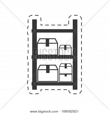 warehouse shelve boxes cargo vector illustration eps 10