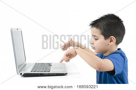Cute Boy Typing Isolated