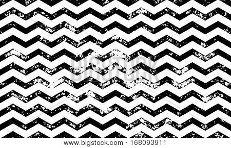 Zig zag vector seamless pattern on abstract grunge wave black and white geometric lines texture for greeting card