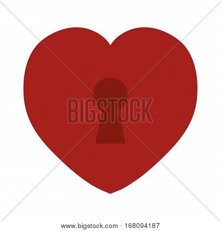 red heart love keyhole icon vector illustration eps 10