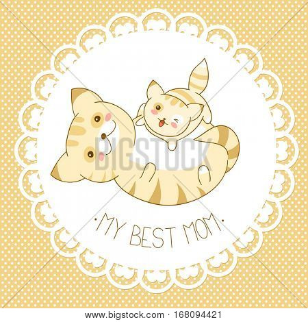 My best mom. Vector background with cute cats in kawaii style and dots pattern. Mother's day card. Banner, placard, holiday poster for scrapbooking, greeting, decoration, invitation in retro color