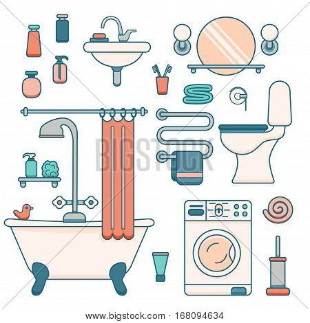Bath equipment icons made in modern line style. Colorful clip art illustration for bathroom interior design. Isolated vector symbols of mirror, toilet, sink, shower, soap, towel, faucet.