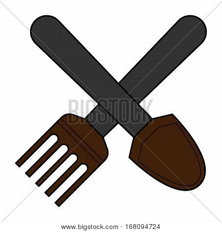 simple flat color shovel and pitchfork icon vector