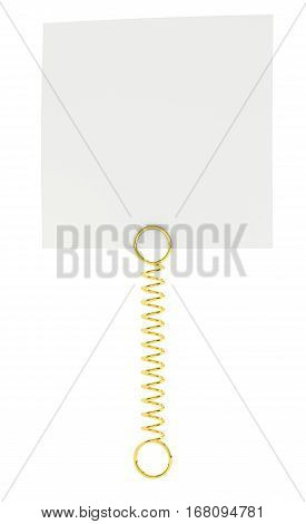 White paper note pad attached with metal spring. Isolated on white background. 3D illustration