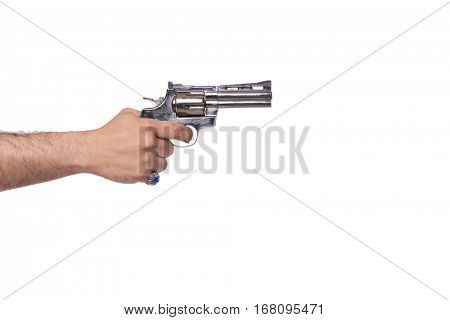 Hand with handgun isolated on white