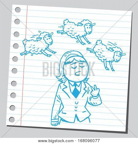 Businesswoman counting sheep