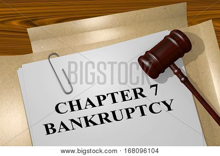 "3D illustration of ""CHAPTER 7 BANKRUPTCY"" title on legal document poster"