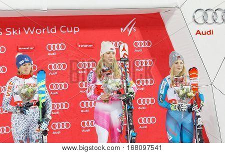 STOCKHOLM SWEDEN - JAN 31 2017: Winner Mikaela Shiffrin (USA) Nina Loeseth (NOR) and Veronika Velez Zuzulova (SVK) on the podium at the FIS Alpine Ski World Cup - city event January 31 2017 Stockholm Sweden
