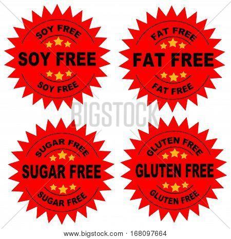 A set of seals indicating that the food is soy free, fat free, sugar fre and gluten free with a Red Background