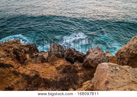 Portugal - Waves Braking On Cliffs
