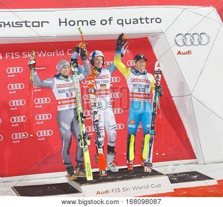 STOCKHOLM SWEDEN - JAN 31 2017: Linus Strasser (GER) Alexis Pinturault and Mattias Hargin on the podium at the FIS Alpine Ski World Cup - city event January 31 2017 Stockholm Sweden
