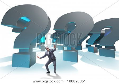 Blindfold businessman in incertainty concept isolated on white