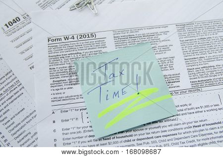 Tax Form 4 W 1040 close up
