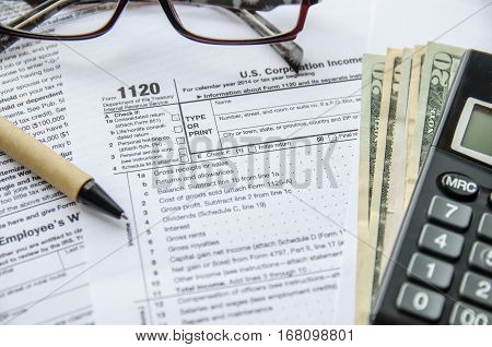 Form 1120 Corporate Tax Return close up