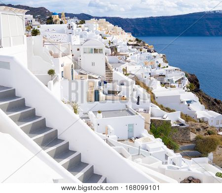 Oia village, view of Ia town, Santorini island, Greece