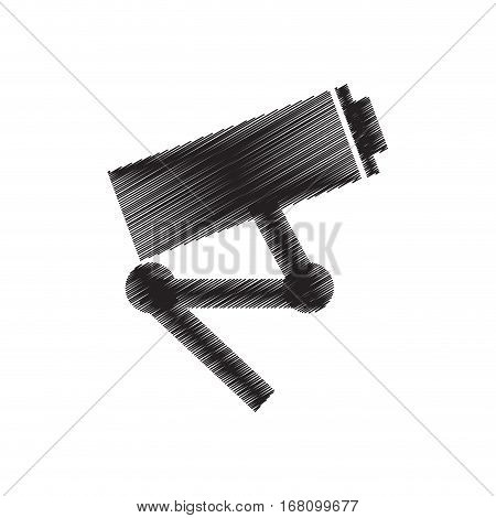 camera surveillance security vigilance draw pictogram vector illustration eps 10
