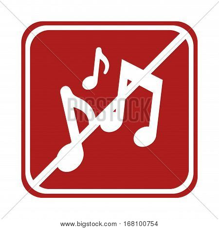 restricted music notes composite square sign vector illustration eps 10