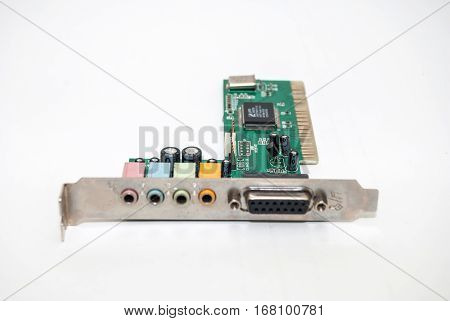 old sound card for computer isolated on white background with clipping path