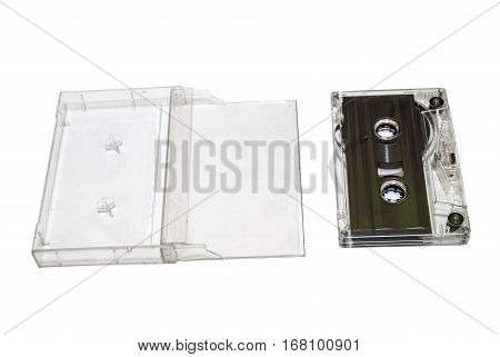 Old sound cassette music on white background