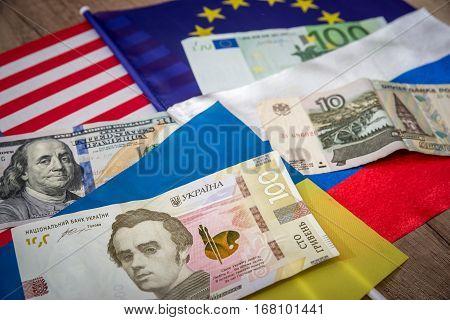 america europe ukraine and russia - flag and money