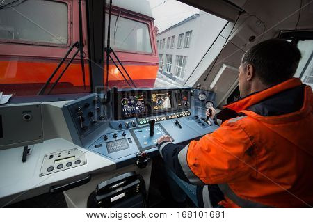 Saint-Petersburg Russia - December 21 2016: The dashboard's cabin modern high-speed electric locomotive EP-20 driver controls the electric locomotive