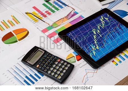 Forex background concept - graph and calculator