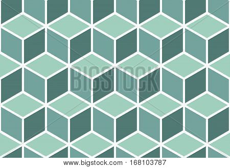Seamless pattern of mint cubes. Endless cubic background. Optical illusion.