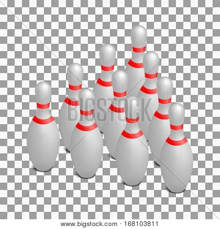 White photo realistic skittles for bowling. 3D isometric style vector illustration.