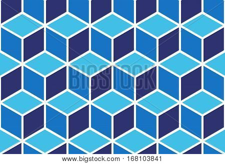 Seamless pattern of blue cubes. Endless cubic background. Optical illusion.