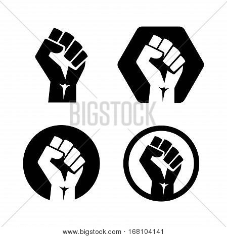 isolated vector illustration. Raised fist set black logo icon